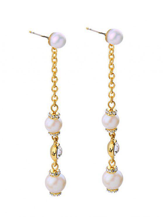 Pendientes Largos Perlas de Faux - Dorado