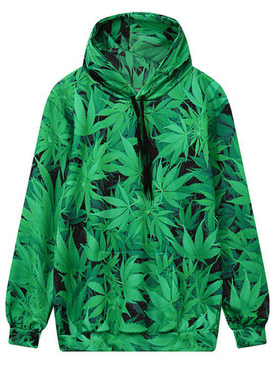 trendy Front Pocket Leaf Print Hoodie - GREEN M