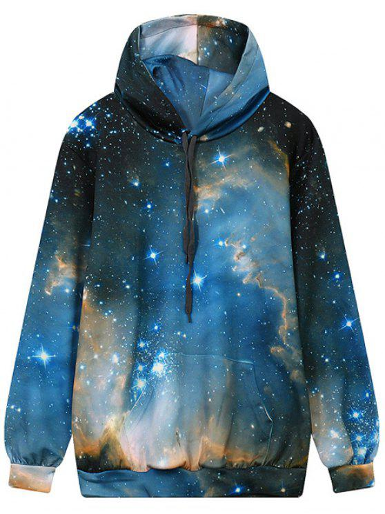 chic Drawstring Front Pocket Galaxy Hoodie - MULTI M
