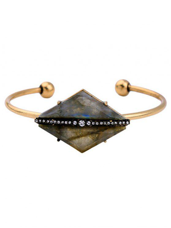 new Rhombus Stone Cuff Bracelet - GOLDEN