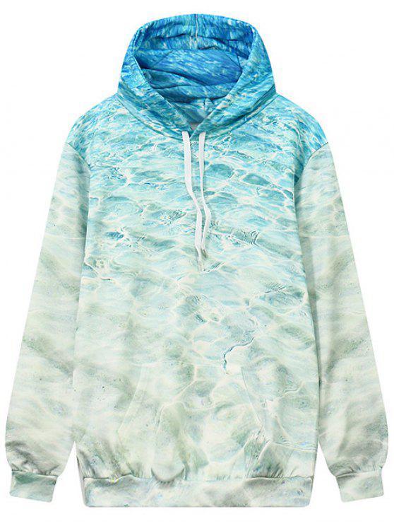 Motif en vagues avant manteaux à capuche Pocket - bleu océan L