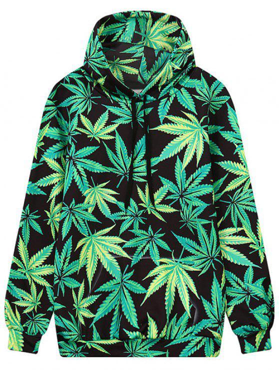 Imprimir la hoja de bolsillo de abrigo con capucha Frente - Negro y verde L