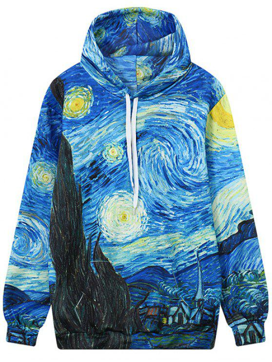 best Abstract Print Front Pocket Outerwear Hoodie - COLORMIX L