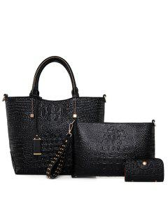 Crocodile Embossed Leather Tote Bag - Black