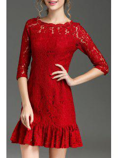 Hollow Out Ruffle Hem Lace Dress - Red Xl