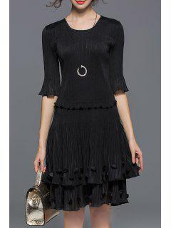 Tiered Popover Dress - Black