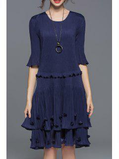 Tiered Popover Dress - Purplish Blue