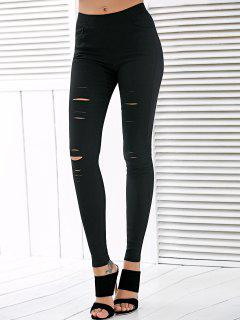 High Waisted Ripped Leggings - Black L