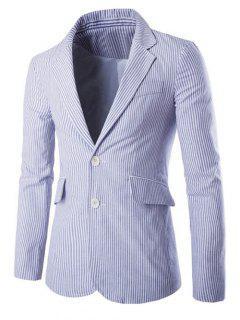 Lapel Vertical Stripe Splicing Single-Breasted Blazer - Blue M