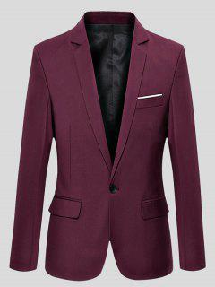 Slimming Lapel Long Sleeve One-Button Blazer - Wine Red Xl