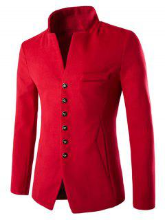 Stand Collar Single-Breasted Slimming Woolen Blazer - Red M