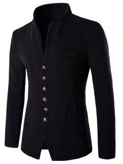 Stand Collar Single-Breasted Slimming Woolen Blazer - Black M