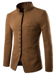 Stand Collar Single-Breasted Slimming Wool Blazer - Camel L
