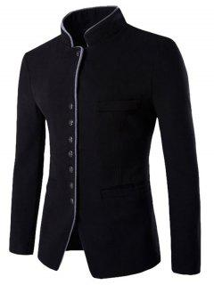 Stand Collar Single-Breasted Slimming Wool Blazer - Black 2xl