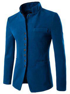 Slim Button Through Faux Wool Men Blazer - Lake Blue M