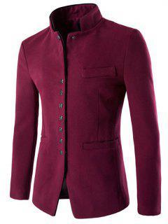 Slim Button Through Faux Wool Men Blazer - Wine Red M