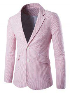 Lapel Vertical Stripe Splicing Single-Breasted Blazer - Pink L