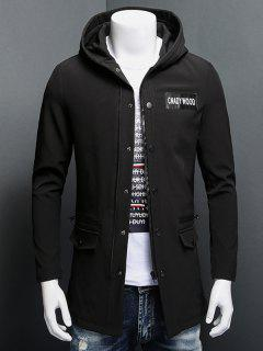 Patch Design Zippered Snap Button Hooded Coat - Black M