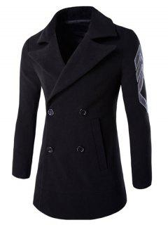 Turn-Down Collar Embroidery Double-Breasted Woolen Coat - Black L