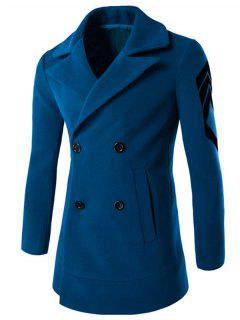 Turn-Down Collar Embroidery Double-Breasted Woolen Coat - Lake Blue M