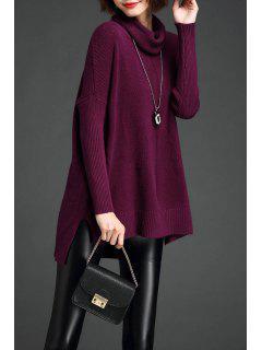 Alto Bajo Knit Del Suéter De Cuello Vuelto - Púrpura