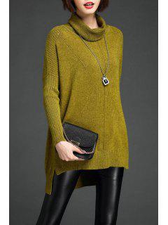 Alto Bajo Knit Del Suéter De Cuello Vuelto - Color De Celadon