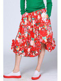 Flower Print Skirt - Red S