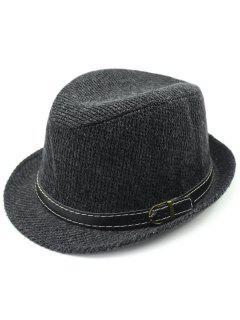 Pure Color Pin Buckle Belt Embellished Flanging Fedora Hat - Black