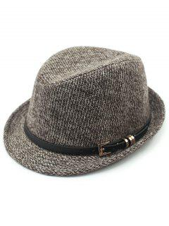 Pure Color Pin Buckle Belt Embellished Flanging Fedora Hat - Coffee