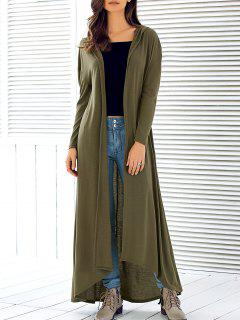 Hooded Maxi Long Duster Cardigan - Army Green S