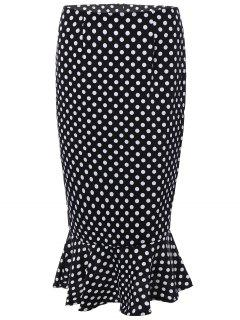 High Waisted Polka Dot Mermaid Skirt - Black M