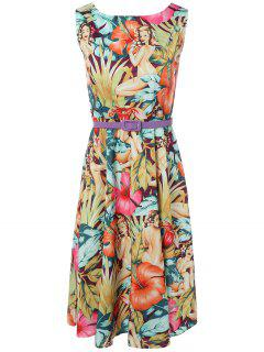 Vintage Round Neck Printed Dress - Multi S
