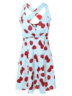 Vintage Plunging Neck Criss Back Cherry Print Dress - Light Blue L