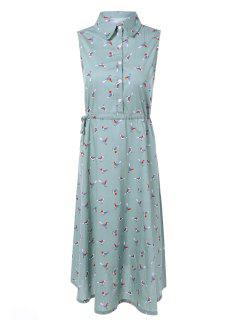 Drawstring Sleeveless Bird Print Shirt Dress - Light Blue M