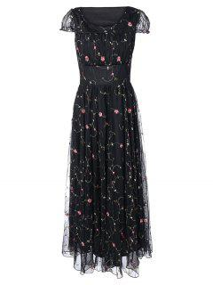 Floral Embroidered Gauze Maxi Wedding Guest Dress - Black M
