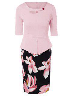 Half Sleeve Floral Print Spliced Sheath Dress - Pink 4xl
