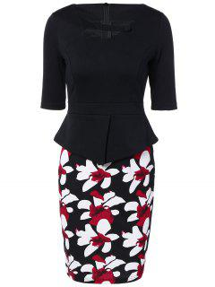 Half Sleeve Floral Print Spliced Sheath Dress - Black 3xl