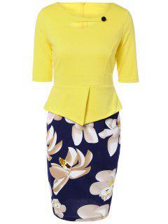 Half Sleeve Floral Print Spliced Sheath Dress - Yellow 2xl