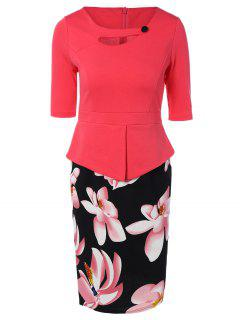 Half Sleeve Floral Print Spliced Sheath Dress - Watermelon Red L