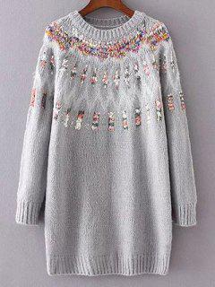 Jacquard Knit Chandail Long - Gris
