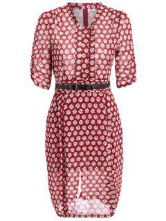 V Neck Daisy Print Chiffon Pencil Dress - Wine Red Xl