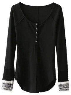 Contrasting Cuffs Long Sleeve Top - Black S
