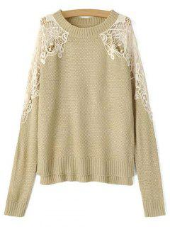 Lace Spliced Round Neck High Low Sweater - Light Khaki S