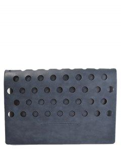 Hollow Out Covered PU Leather Clutch Bag - Deep Gray