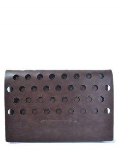 Hollow Out Covered PU Leather Clutch Bag - Coffee