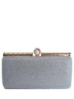 Faux Pearl Hollow Out Rhinestones Evening Bag - Silver