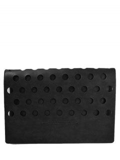 Hollow Out Covered PU Leather Clutch Bag - Black