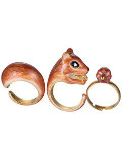 Squirrel Alloy Jewelry Set Rings - Golden One-size