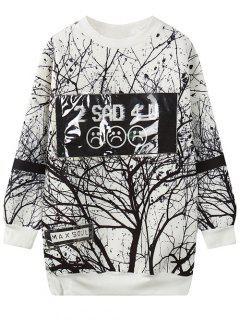 Arbre Branche Imprimer Sweat-shirt - Blanc