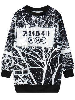 Arbre Branche Lettre Imprimer Sweat-shirt - Noir